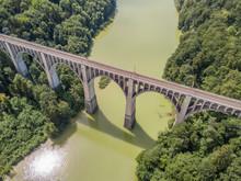 Aerial View Of Grandfey Railroad Bridge In Switzerland, Canton Of Fribourg