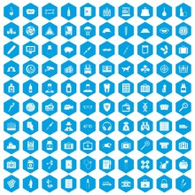 100 Case Icons Set In Blue Hexagon Isolated Vector Illustration
