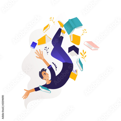 Fotografia, Obraz Young boy flying surrounded by books and note pads