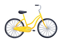 Bright Yellow Colorful Bicycle. One Single Object. Symbol Of Freedom, Summer, Movement, Fun, Health, Eco Friendly Transportation. Hand Drawn Watercolour Graphic Painting On White, Cut Out Clip Art.