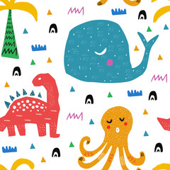 Tapeta Pattern with tropical wild animals. Kid drawing.Abstract childish art. Baby pattern. For nursery fashion,wrapping or cover.