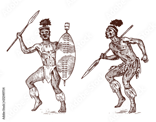 African tribes, Aborigines in traditional costumes  Australian
