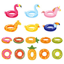 Pool Inflatable Cute Kids Toys Set Isolated On White Background. Vector Hand Drawn Doodle Illustration.