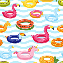 Vector Seamless Swimming Pool Float Rings Pattern. Multicolor Inflatable Cute Kids Toys And Striped Background.