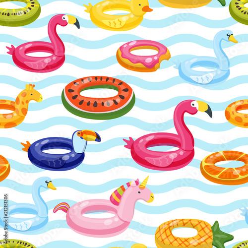 wektor-bez-szwu-plywaka-basen-pierscienie-wzor-multicolor-nadmuchiwane-slodkie-dzieci-zabawki-i-paski-tle