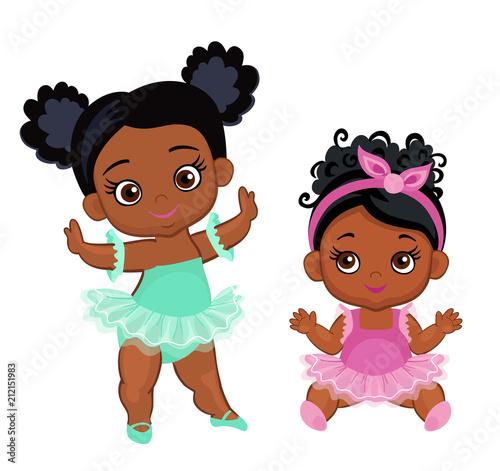 Vector cute little baby African American ballerinas in  tutu dresses Billede på lærred