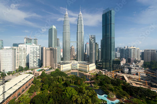 Kuala Lumpur city skyline and skyscrapers building at business district downtown in Kuala Lumpur, Malaysia. Asia..