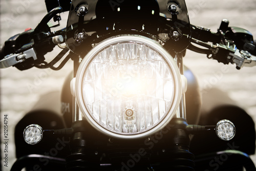 Fotobehang Fiets Close up Headlight of modern motorcycle in night..