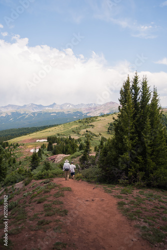 Keuken foto achterwand Diepbruine Two men on a trail in Colorado.