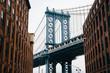 Washington Street and the Manhattan Bridge, in DUMBO, Brooklyn, New York City.