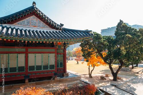 Photo  Deoksugung Palace with autumn maple in Seoul, Korea