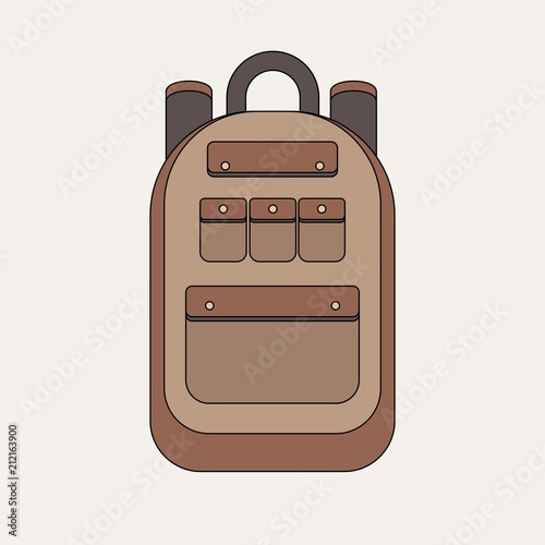 school backpack isolated on white background.Tourist backpack . Stock flat  vector illustration. be7fa94c69606