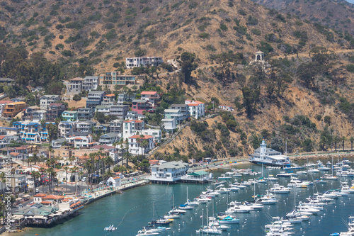 Fotografie, Obraz  Overhead bay view of Avalon harbor with casino, yacht club, sailboats and yachts