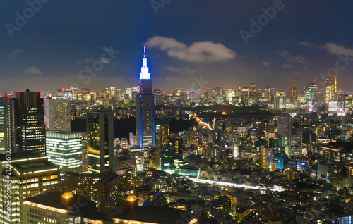 Plakat Tokio Nocny widok · Z dzielnicy Shinjuku w kierunku Tokyo Tower