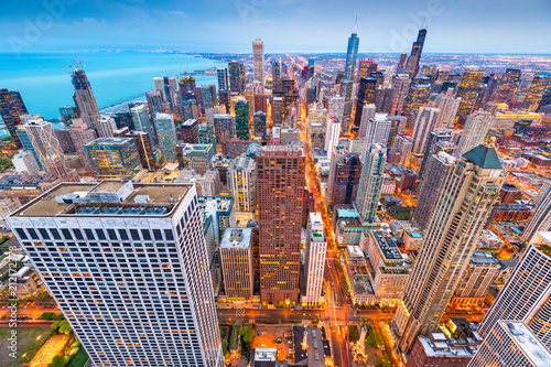 Poster Chicago Chicago, Illinois, USA Aerial Cityscape