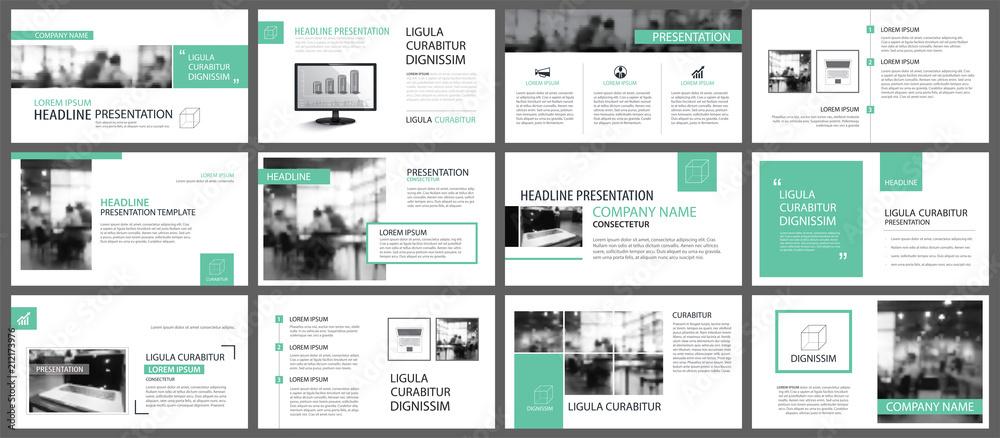 Fototapeta Green presentation templates for slide infographics elements background. Use for business annual report, flyer design, corporate marketing, leaflet, advertising, brochure, modern style.