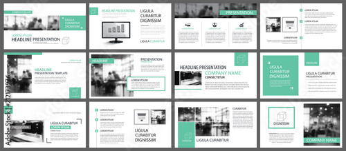 Fototapeta Green presentation templates for slide infographics elements background. Use for business annual report, flyer design, corporate marketing, leaflet, advertising, brochure, modern style. obraz