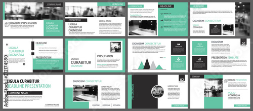 Fototapeta Green presentation templates for slide infographics elements background. Use for business annual report, flyer design, corporate marketing, leaflet, advertising, brochure, modern style. obraz na płótnie