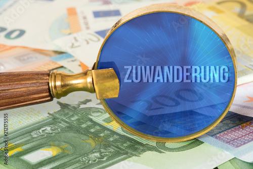 Valokuvatapetti Euro Geldscheine, eine Lupe und die Kosten für die Zuwanderung