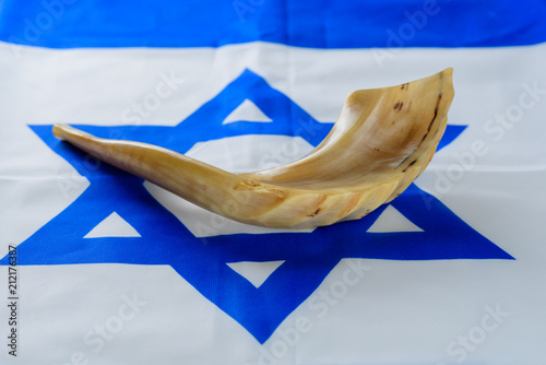Shofar horn on Israel flag Canvas Print