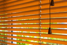 Fragment Of The Red Brown Venetian Blinds On A Window And Blurred View Of The Autumn Trees Across Slats Of A Window Blind.