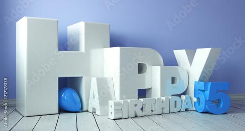 Photo  Happy Birthday 3D-Schriftzug mit Luftballon zum 55. Geburtstag