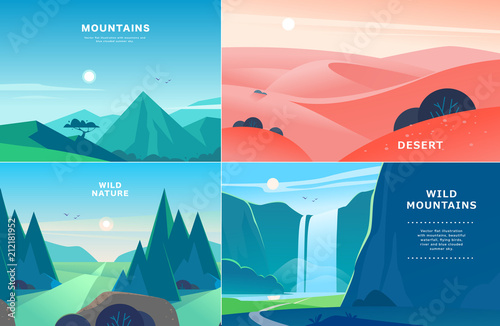 Vector set of flat summer landscape illustrations with desert, waterfall, mountains, sun, forest on blue clouded sky Fotobehang