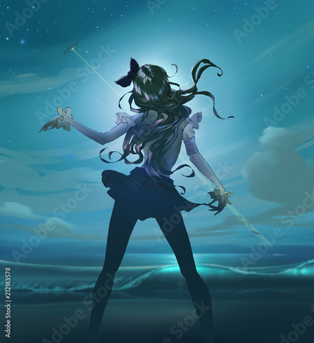 cartoon-anime-illustration-of-a-beautiful-slim-woman-with-long-hair-dancing-on-the-moony-background-with-a-night-starry-sky-and-a-ufo