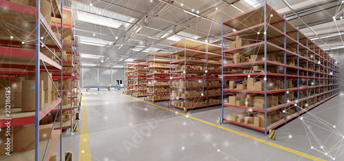 Fotografia Connection over a warehouse goods stock background 3d rendering