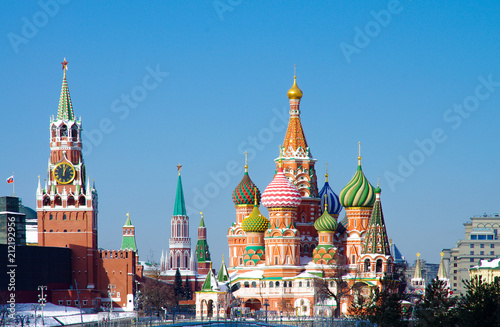 MOSCOW, RUSSIA - February, 2018: Saint Basil's Cathedral, is a church in the Red Square in Moscow