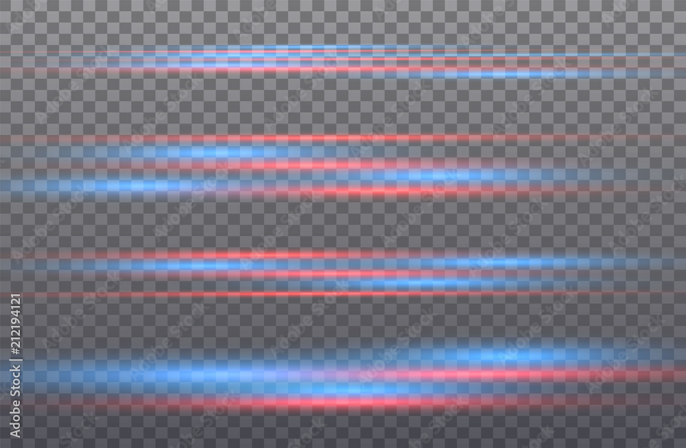 Fototapety, obrazy: Vector red and blue special effect. Luminous stripes on a transparent background. Beautiful glow glow and spark.particle motion.