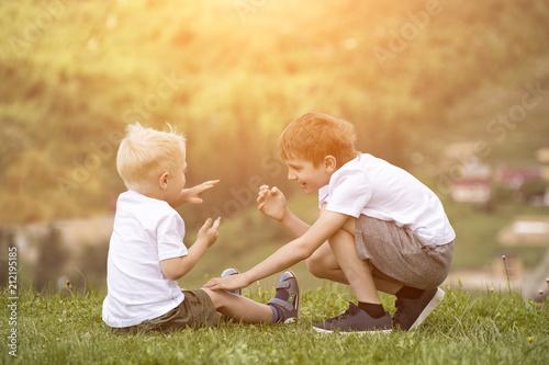 Two boys have fun
