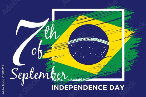 Foto  Happy Brazil Independence Day national flag of Brazil background vector illustra