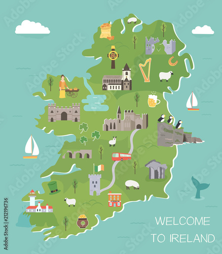 Cuadros en Lienzo Irish map with symbols of Ireland, destinations