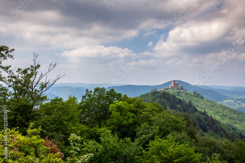 Foto op Canvas Bleke violet South Palatinate Forest Landscape and Castle Trifels Germany