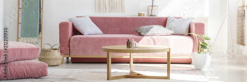 Horizontal photo of a feminine living room interior with a pink sofa, pillows, coffee table, poufs and plant
