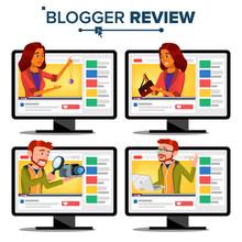 Blogger Review Concept Vector....
