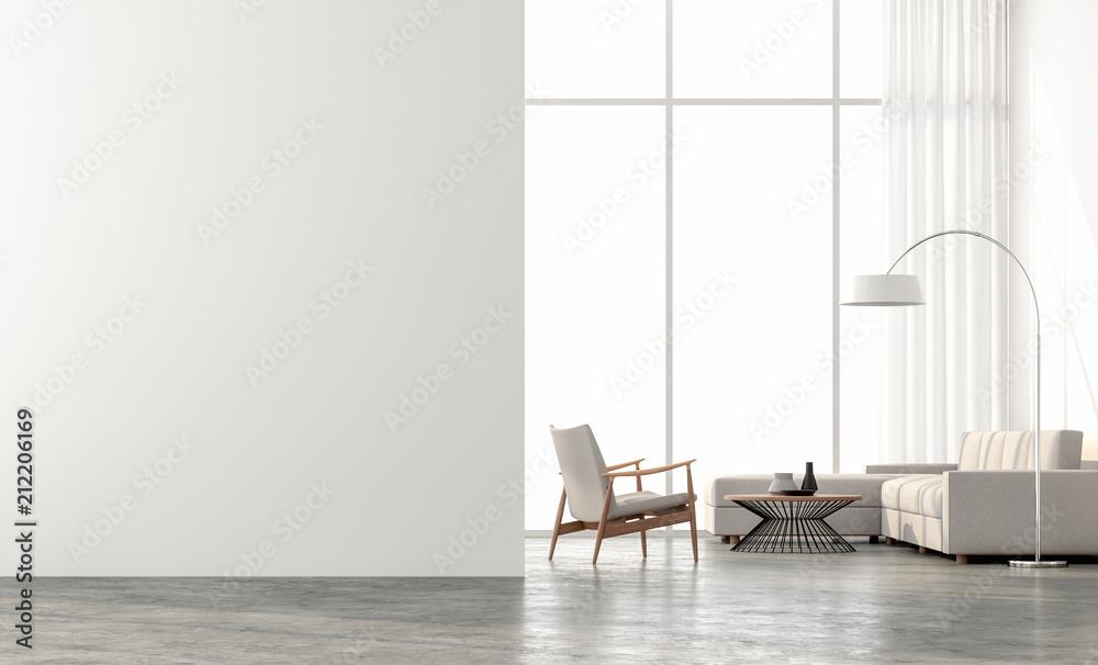Fotografía  Minimal style  living room 3d render