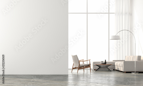 Obraz Minimal style  living room 3d render.There are concrete floor,white wall.Finished with beige color furniture,The room has large windows. Looking out to see the scenery outside. - fototapety do salonu