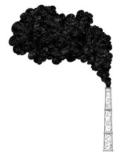 Vector Artistic Pen And Ink Drawing Illustration Of Smoke Coming From Industry Or Factory Smokestack Or Chimney Into Air. Environmental Concept Of Pollution.