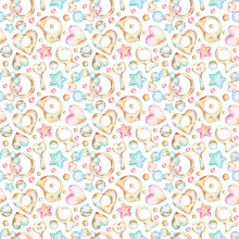 Seamless Watercolor Pattern With Baby Themed Illustrations Of Traditional Retro Style Teething Ring, Wooden Bird, Fish, Heart, Beads, Bells, Red And Blue Polka Dot Stars