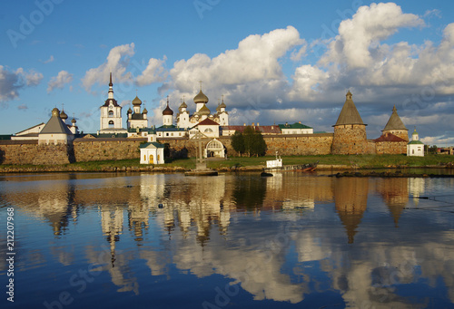 Poster Channel SOLOVKI, REPUBLIC OF KARELIA, RUSSIA - August, 2017: Solovki Monastery at summer day