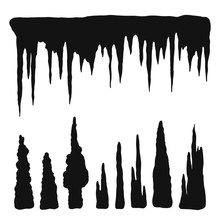 Stalactites Vector Silhouette Black. Natural Cave Formations Isolated