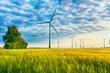 canvas print picture - renewable energies - power generation with wind turbines in a wind farm