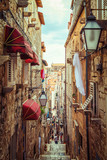 Fototapeta Uliczki - Famous narrow alley of Dubrovnik old town, Croatia