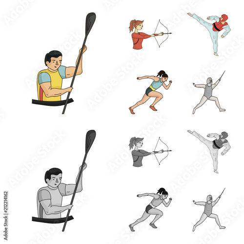 Photo  Archery, karate, running, fencing