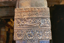Carving Of A Lady Lying Stretched On A Couch With A Maid Servant Near Her Feet. Mallikarjuna Temple, Pattadakal Temple Complex, Pattadakal, Karnataka