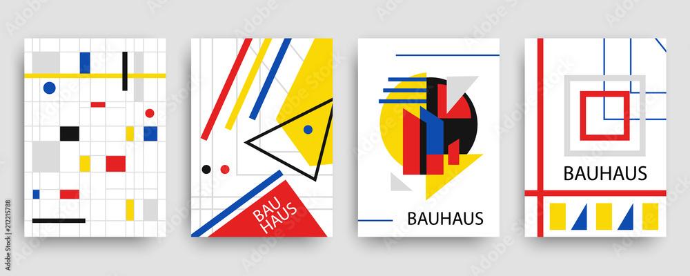 Fototapeta Retro geometric bauhaus, memphis covers templates set