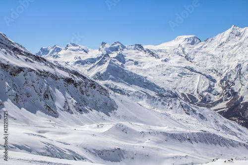 Foto op Aluminium Bergen The mountain range in Saas Fee, Switzerland