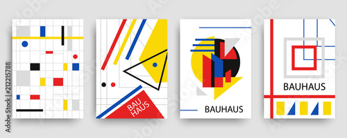 Obraz na plátně  Retro geometric bauhaus, memphis covers templates set